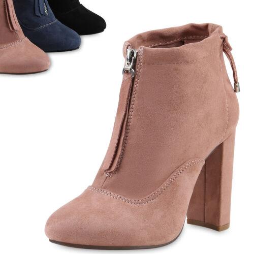 Damen Klassische Stiefeletten High Heels Schleifen Schuhe Zipper 818108 Top