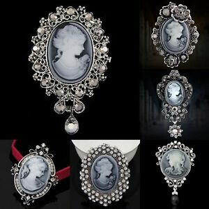 Crystal-Women-Lady-Vintage-Cameo-Brooch-Pin-Pendant-Party-Fashion-Xmas-Jewellery