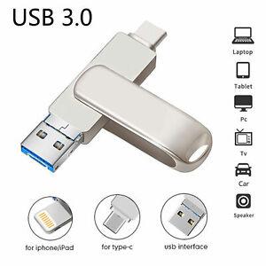 128GB USB Stick Flash Drive 3 in 1 OTG 3.0 TypeC+Lighting+PC für iPhone Android