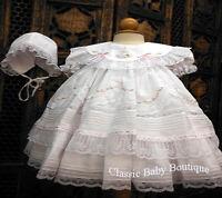 Will'beth White Fancy Lace Dress 3pc Set Preemie Bonnet & Bloomers Baby Girl