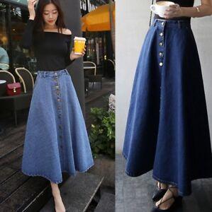 Fashion-Women-039-s-Denim-A-line-High-Waist-Long-Midi-Flare-Party-Skater-Slim-Skirt