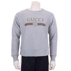 5a6c7356789c Image is loading GUCCI-1050-Gray-Cotton-Gucci-Logo-Print-Sweatshirt