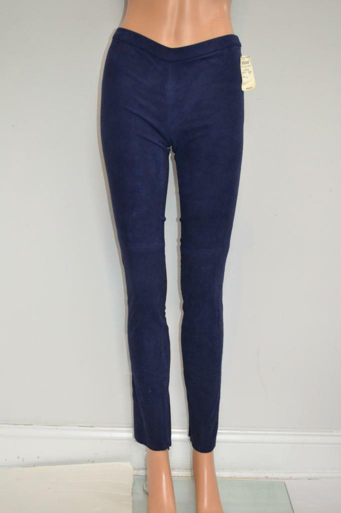 NWT Elie Tahari Navy Suede Ankle Zipper Pull-On Leggings Pants Size 0  898