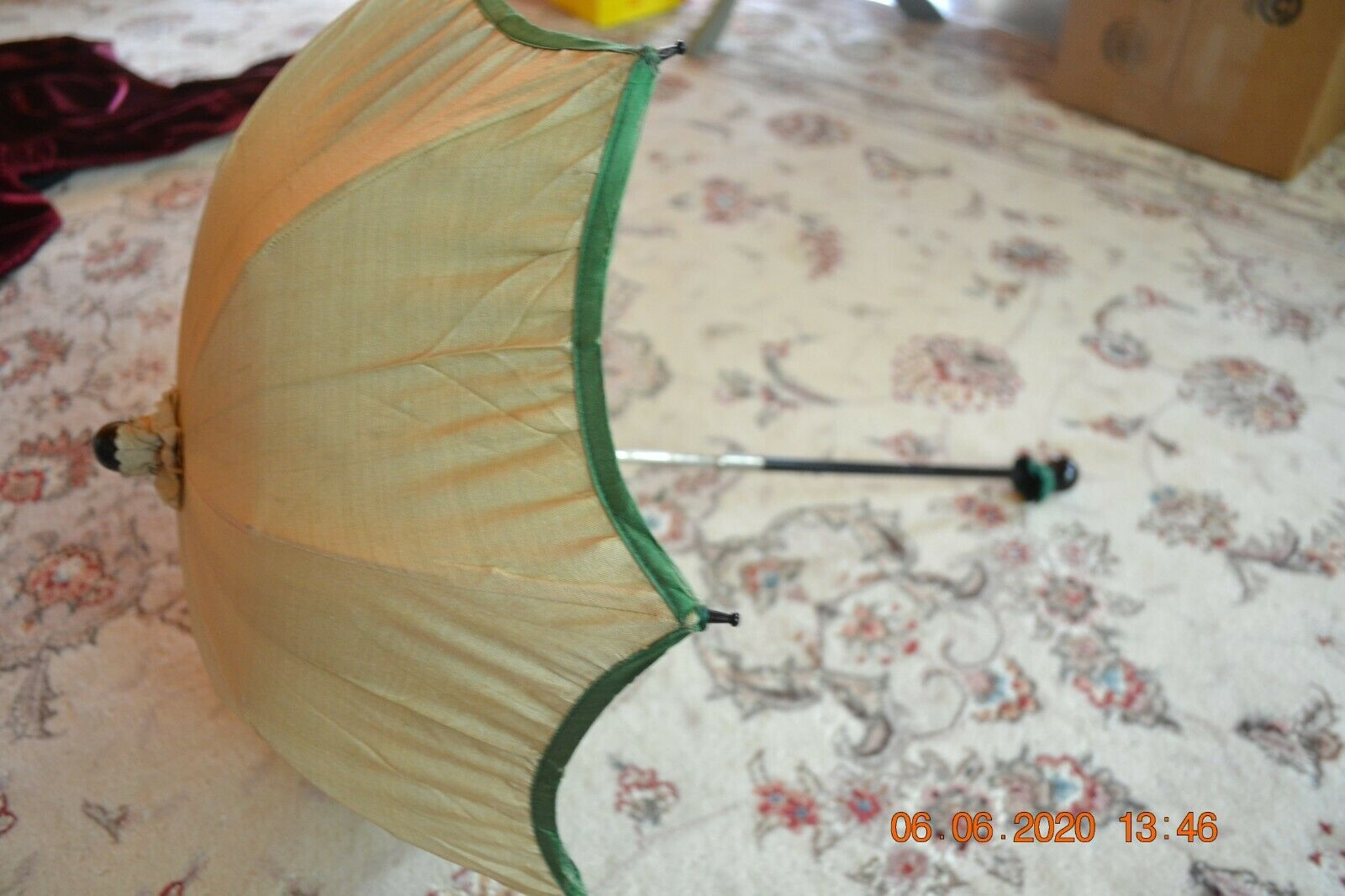19th Century Childs Sm Parasol Cream Silk Green Lining Great for Antique Dolls