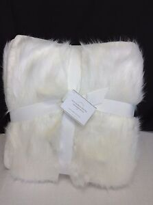 Pottery Barn Sun Bear Ivory Faux Fur Throw Sofa Blanket