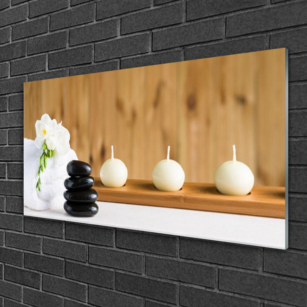 Image sur verre Tableau Impression 100x50 Art Pierres Fleur Bougie