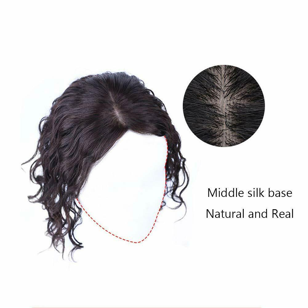 Image 6 - Women-Curly-Real-Human-Hair-Middle-Silk-Base-Topper-Wiglet-Top-For-Loss-Hair