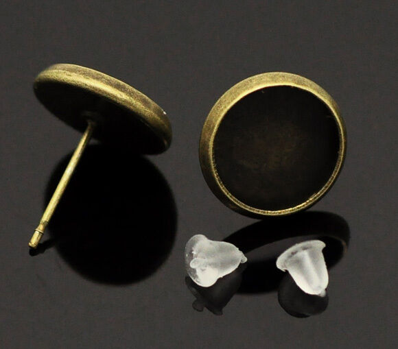 15 Pairs Bronze Tone Cabochon Settings Earring Post W/Stoppers 14x12mm(Fit 10mm)