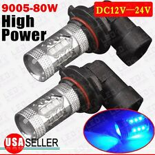 2 X 2016 Ultra Blue 80W 9005 HB3 High Power LED Fog Driving DRL Lights Projector