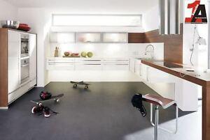 Details zu CHARME Hgl Weiss Arbeitsplatte Weiß-Dekor + Kastanie die  schwebende Küche