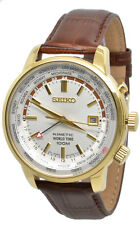 Seiko Kinetic World Time SUN070 Silver Dial Brown Leather Band Men's Watch