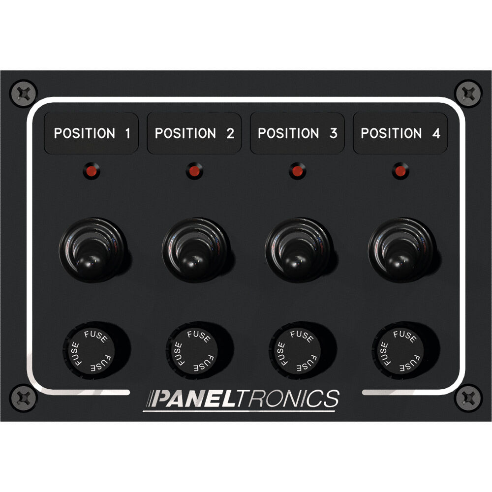 Paneltronics Waterproof Panel - DC 4-Pos Schalter & Fuse w LEDs