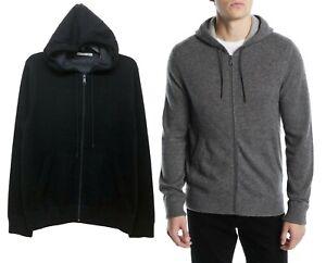 Cashmere Zip Brand Soft Hoodie chaqueta Vince suéter 100 de Men gris negro COwqddBa