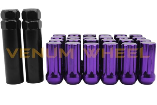 32 Pc 7-Spline Duplex Purple Lug Nuts 14x1.5 Installation Key Ford F-250 F-350