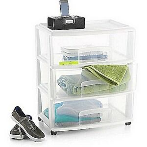 3-Drawer Large Cart Plastic Extra Storage Rolling Cabinet Home White NEW