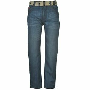 Lee-Cooper-Kids-Boys-Belted-Jean-Junior-Straight-Jeans-Pants-Trousers-Bottoms