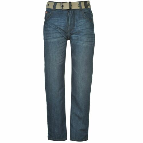 Lee Cooper Kids Boys Belted Jean Junior Straight Jeans Pants Trousers Bottoms