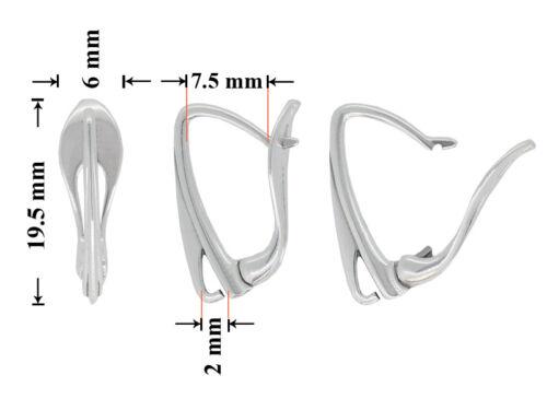 Sterling Silver Leverback Earrings Hooks Open Loop 19.5x7.5mm Findings