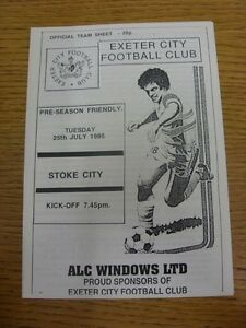25-07-1995-Exeter-City-v-Stoke-City-Friendly-4-Pages-This-item-is-supplied