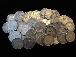 Australian KGV Sterling Threepence Bulk Silver Coins Xmas Pudding 10pc