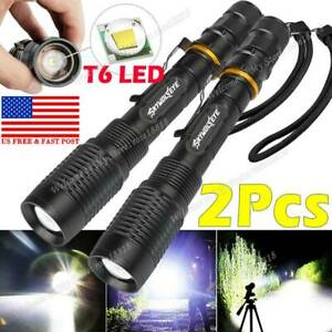 2X Tactical 350000LM Zoomable Police LED Focus Power Flashlight 186*50 Torch