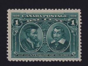 Canada-Sc-97-1908-1c-green-Quebec-Tercentenary-Mint-VF-NH