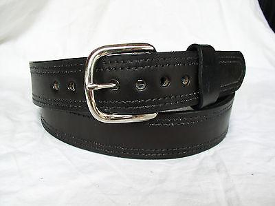 "Belt Black Plain 2 Ply Lined 1.5"" Heavy Duty Double Stitch Leather Gun Carry"