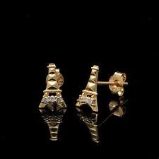 0.08CT Created Diamond Tour Eiffel Tower Earrings 14K Yellow Gold Mini Studs