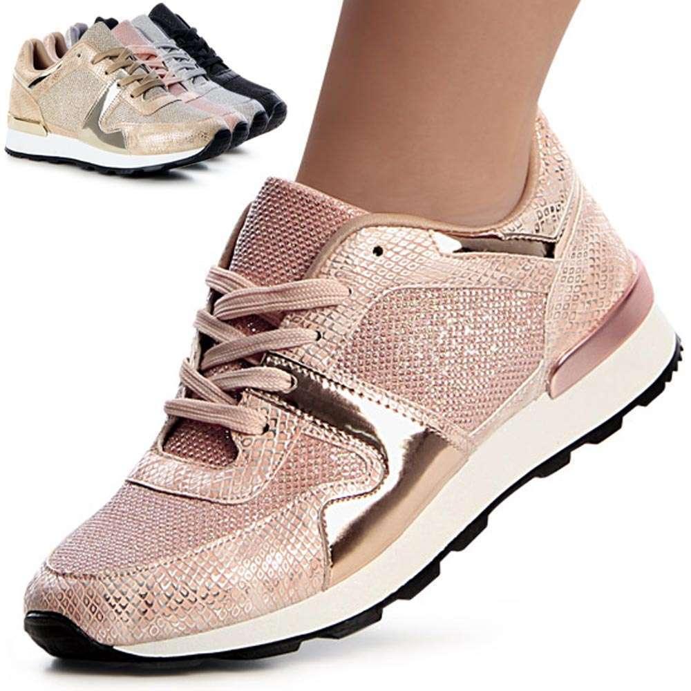 Femmes Paillettes Chaussures De Sport Chaussures Basket Coude TALON COMPENSE Metallic