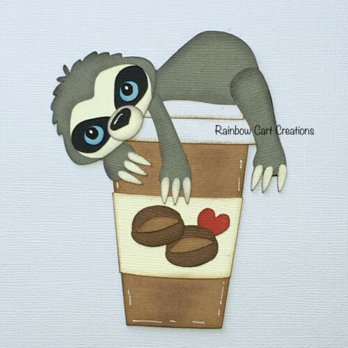 Need Coffee Sloth Die Cut Embellishment Title Premade Scrapbook Cards Layered
