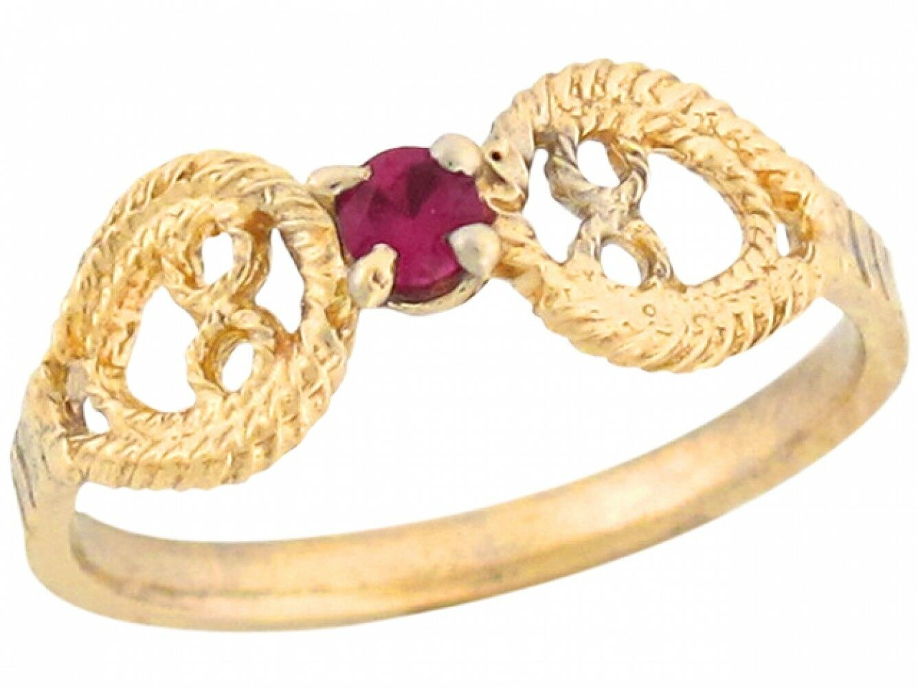 10k or 14k gold Simulated Ruby Solitaire Angel Wings Designer Baby Girl Ring