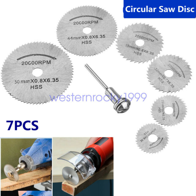 7pcs//set HSS Circular Saw Blade Wood Metal Plastic Cutting Disc for Rotary Tools