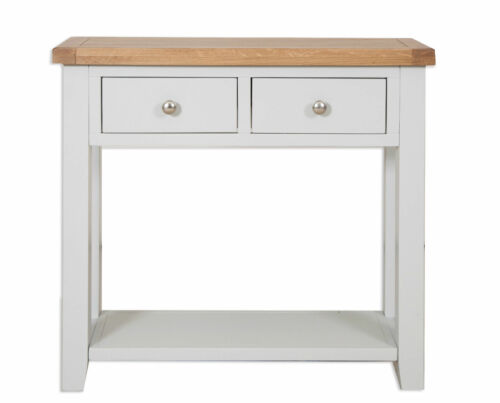 Canberra French GreyChunky Rustic Oak Top 2 Drawer Console Table Assembled