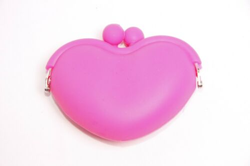 Cute Girly Women Neon Pink Silicone Heart Shape Small Change Purse S295