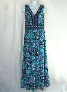Trulli-Vestido-Talla-M-Azul-Vestido-Maxi-Floral-sin-mangas-elastico-cuello-en-V