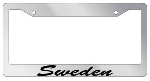 Chrome License Plate Frame CURSIVE Sweden Auto Accessory Novelty 2478