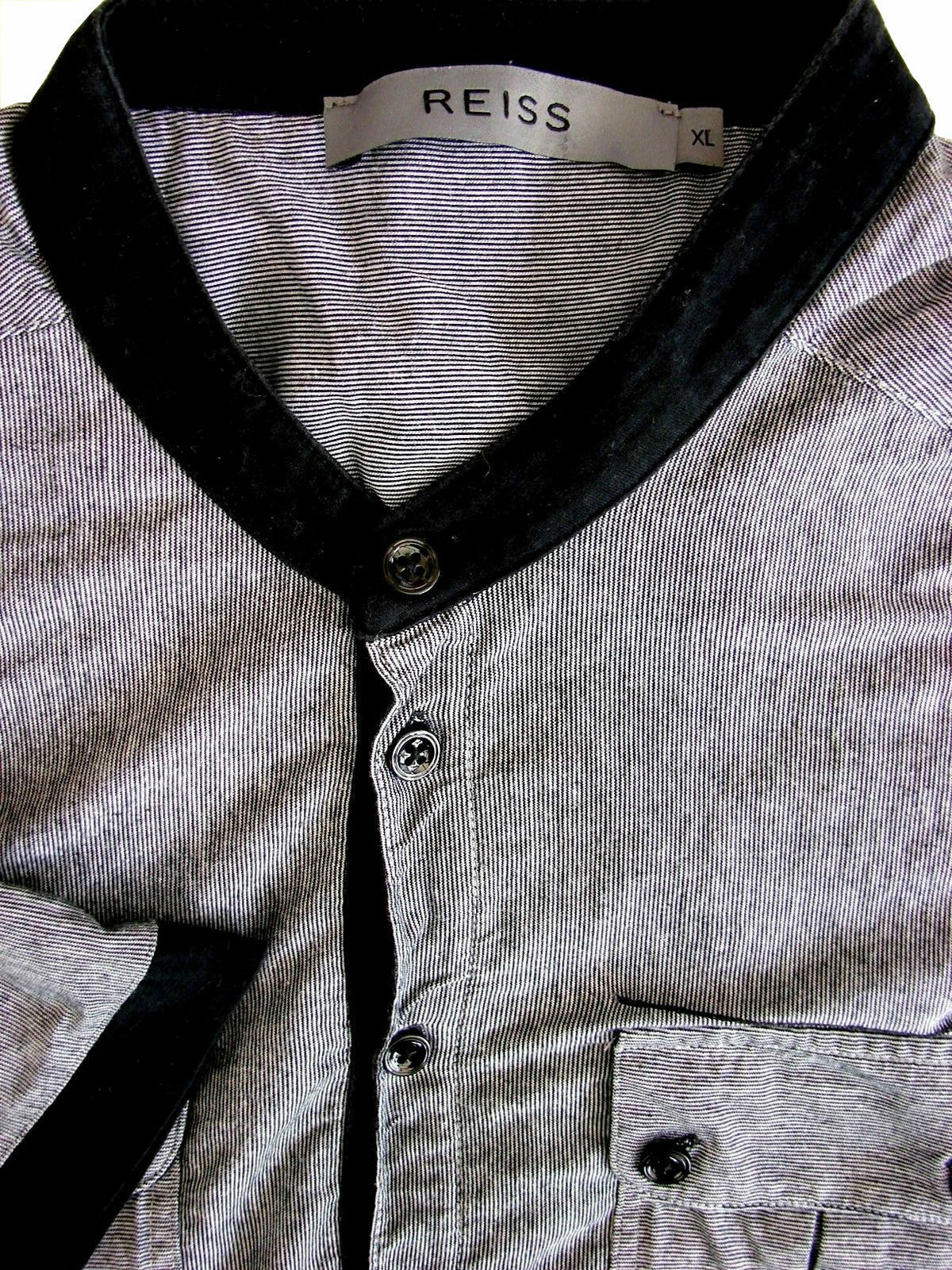 Noir REISS Gris shirt homme M manches 16 T à à Bordure manches qrSRqwY