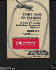 PCA CAPITAL AIRLINES 1946 NONSTOP EVERY HOUR ON THE HOUR DETROIT/CLEVELAND AD