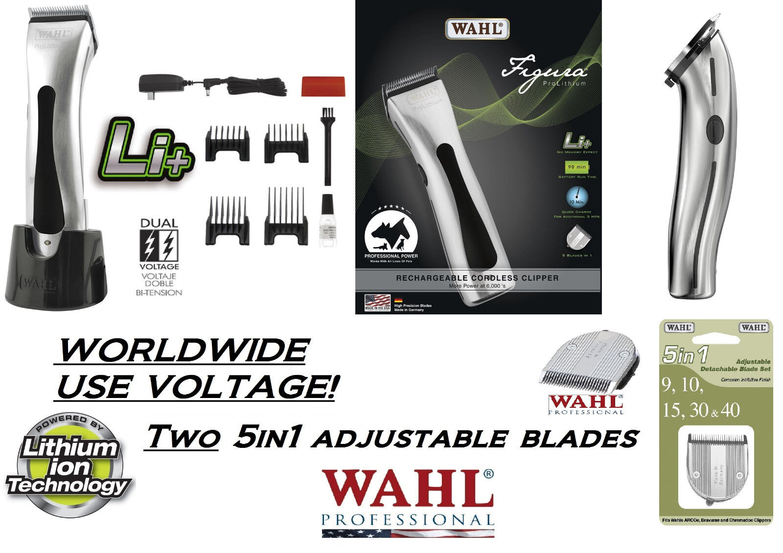 Wahl Figura Lithium Lithium Lithium Cordless Animale Domestico Tosatrice Kit con   Due 5 in 1 be25de