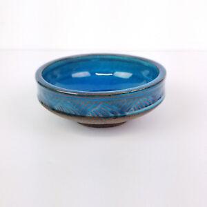Mid-Century-Nils-Kahler-Dish-HAK-Danish-Blue-Trinket-Bowl-Denmark-4in-A