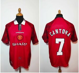 Manchester-United-Vintage-CANTONA-7-Camicia-1996-97-XL-UMBRO-Rosso-MUFC-HOME-JERSEY
