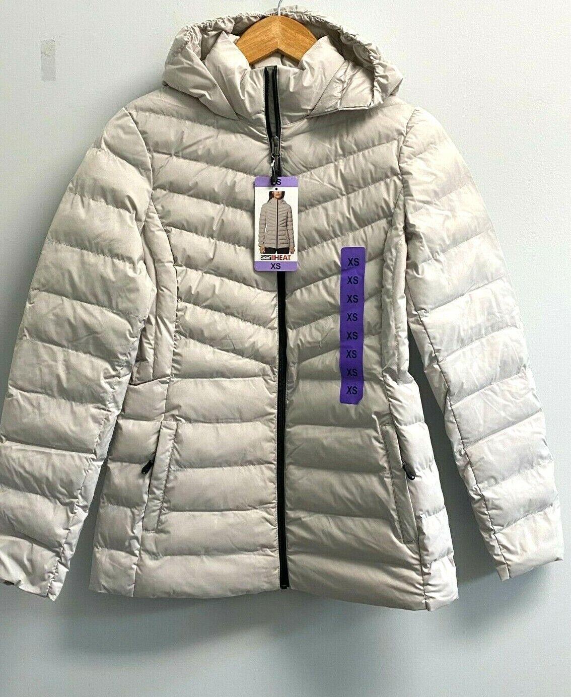 NEW 32 Degrees Heat Women's S,M,L,XXL Hooded 2-Way Stretch Jacket Silver Post