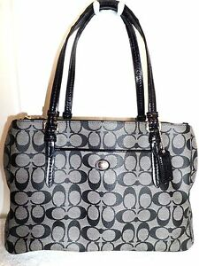 Coach-F24603-Signature-Peyton-Black-Leather-Double-Zip-Carryall-Shoulder-Tote