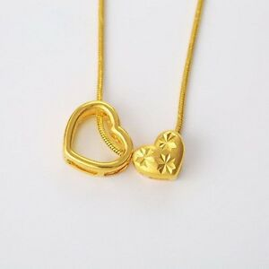 Lucky-Double-Heart-Pendant-Necklace-Chain-Women-24K-Yellow-Gold-Filled-Clovers