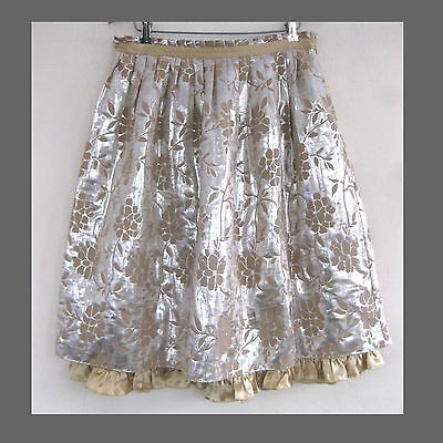 Tocca Metallic skirt 8 Silk Lt wool Gold Silver Dressy Special occasion Full M