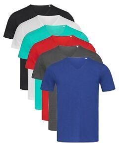 Pour-Homme-Hommes-Uni-T-Shirt-Coton-Col-En-V-T-shirt-Col-V-T-Shirt-S-XXL