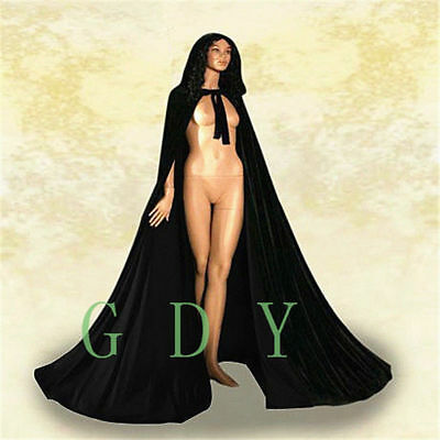 Masquerade Cape Black Hooded Cloak Black Lined Velvet Halloween Satin Wedding x0qwr0Iz