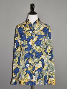 BANANA-REPUBLIC-NEW-88-Dillon-Floral-Print-Blouse-Blue-Yellow-Small
