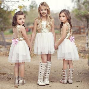 Kinder Madchen Kleid Paillette Prinzessin Tutu Spitze Blumenmadchen