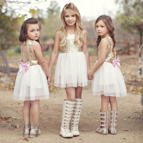 Toddler Kids Flower Girl Dress White Tutu Tulle Mini Dress Wedding Formal Party